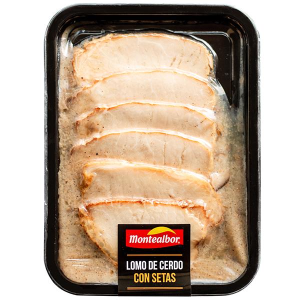 """Fotografia de plato precocinado de Lomo de Cerdo con Setas Montealbor"""